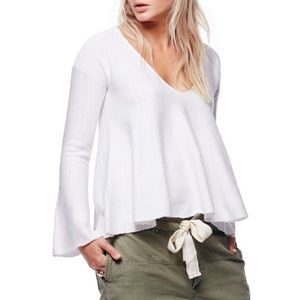 Free People Sundae Pullover Sweater White Linen